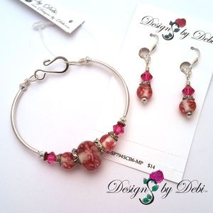 Glass & Crystal Floral Fitted Bangle & Earrings